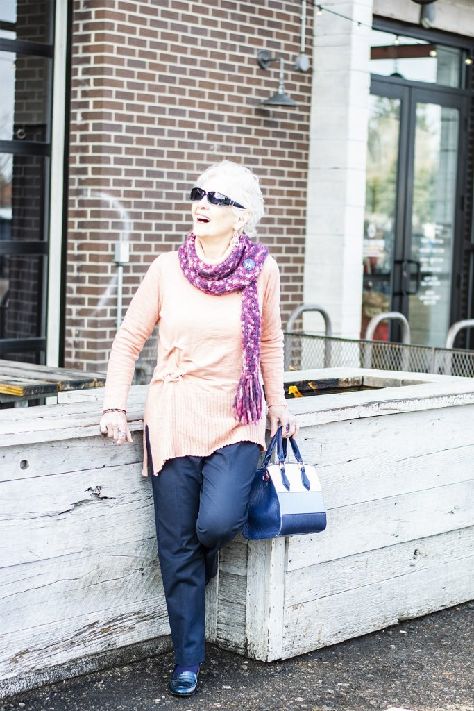 Wearing spring colors with navy
