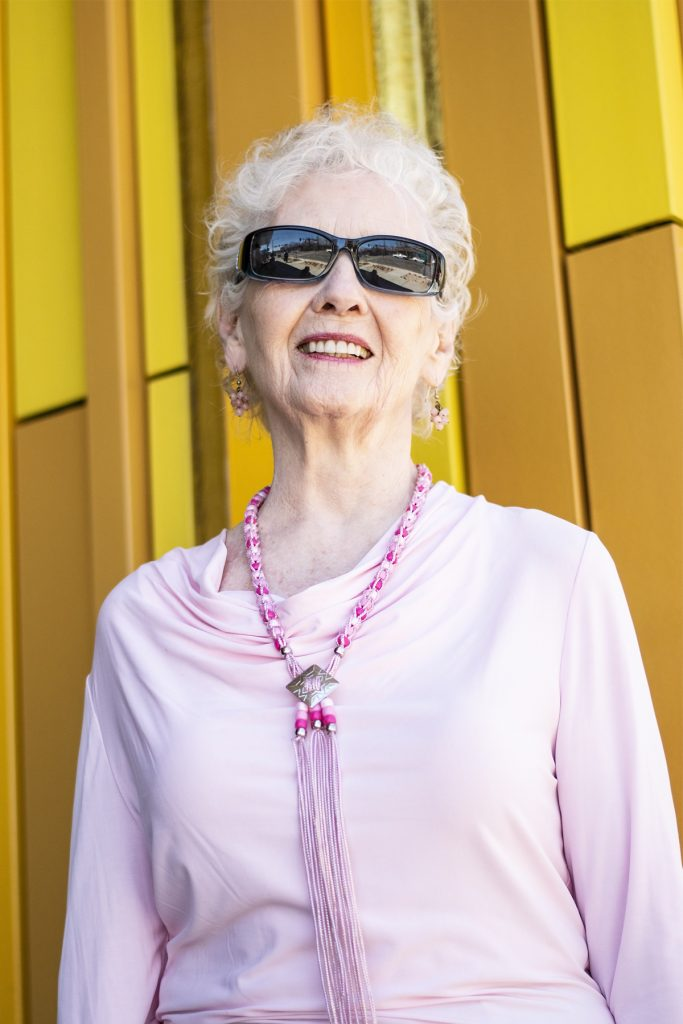 Wearing spring fashion accessories for woman over 80