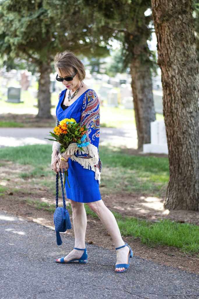 Wearing blue to a funeral