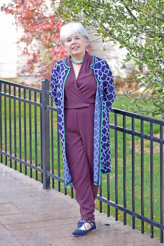 Woman over 70 in a jumpsuit that would work for a funeral