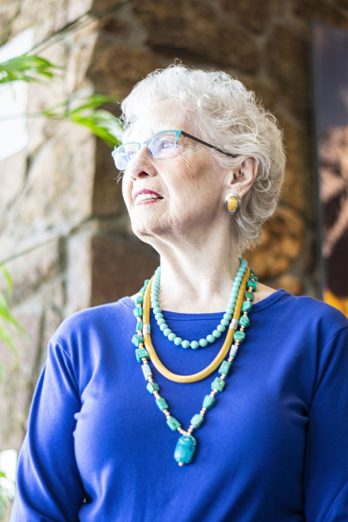 Blue and layered necklace for woman over 80