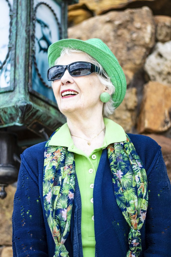 Lime green accessories with hat and earrings