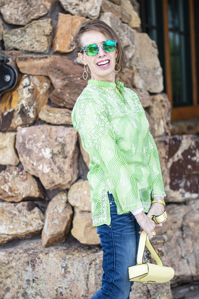 Light lime green top as layering