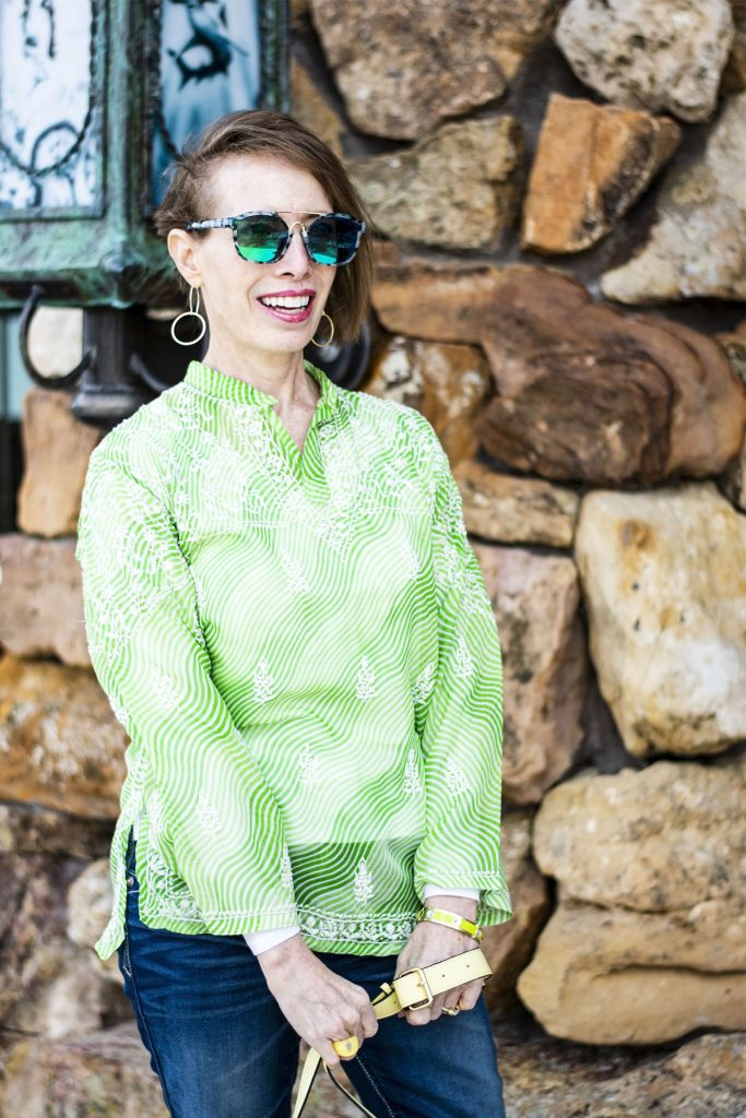 Light lime green top with green sunnies