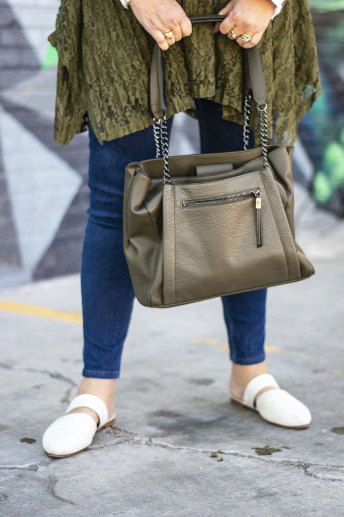Olive green purse and tunic