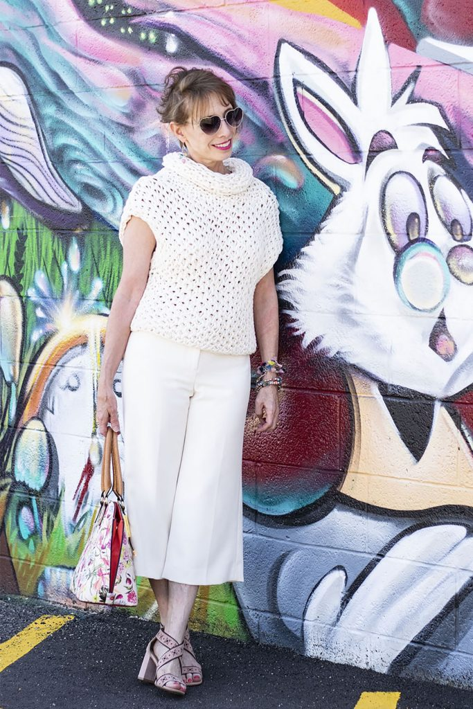 White outfit for women over 50