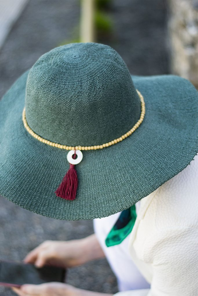 Straw hat with decoration