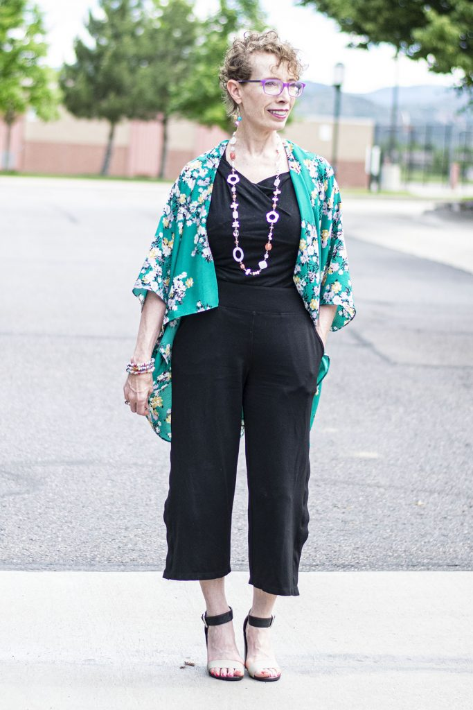 Outfits with a kimono showcasing a column of color