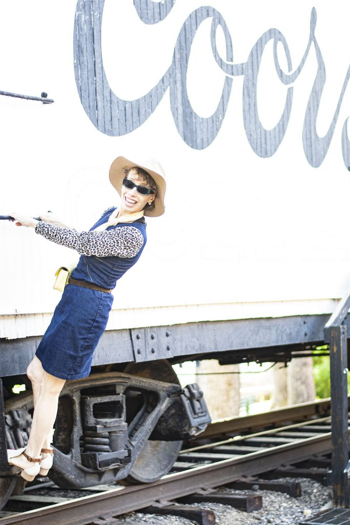How to style a denim dress at the railroad museum