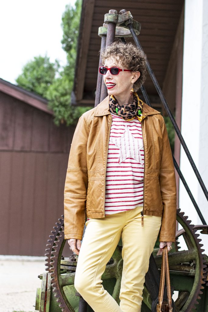 Red and white striped shirt with a print scarf