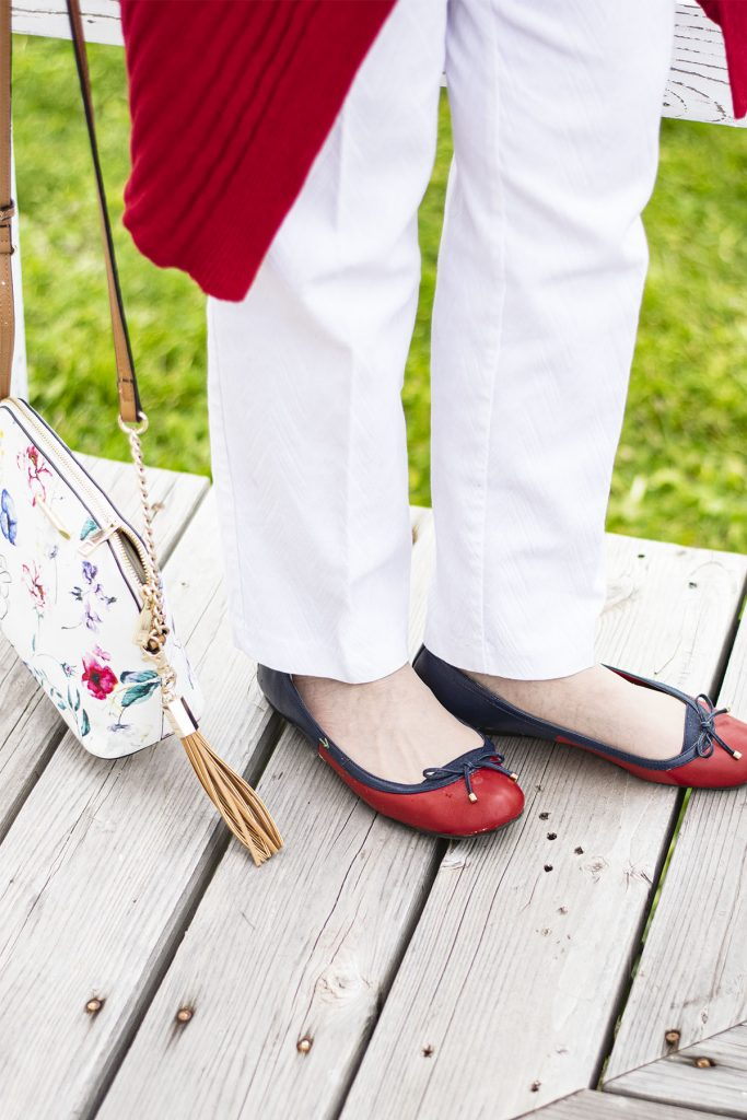 Red shoes with a matching outfit