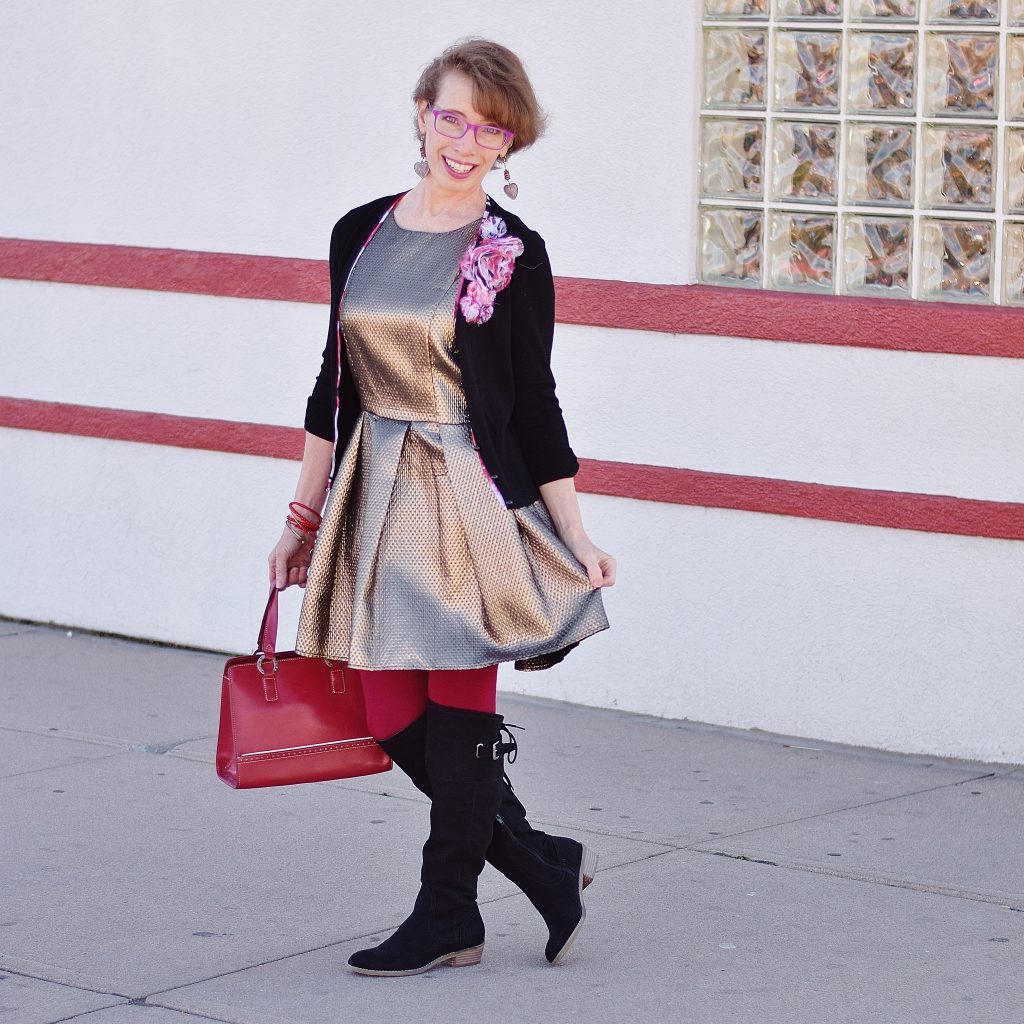 Woman over 50 in thrifted items