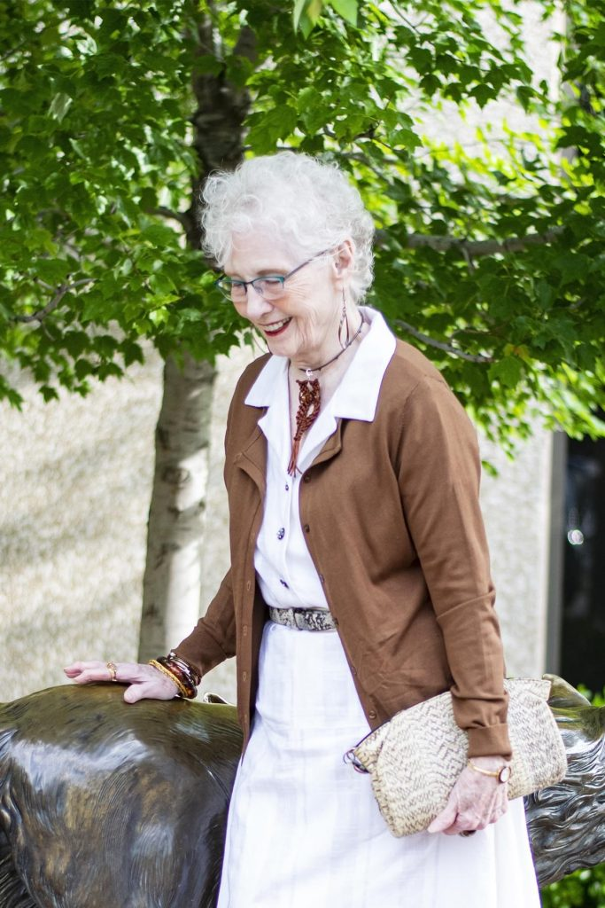 Woman over 80 in neutrals