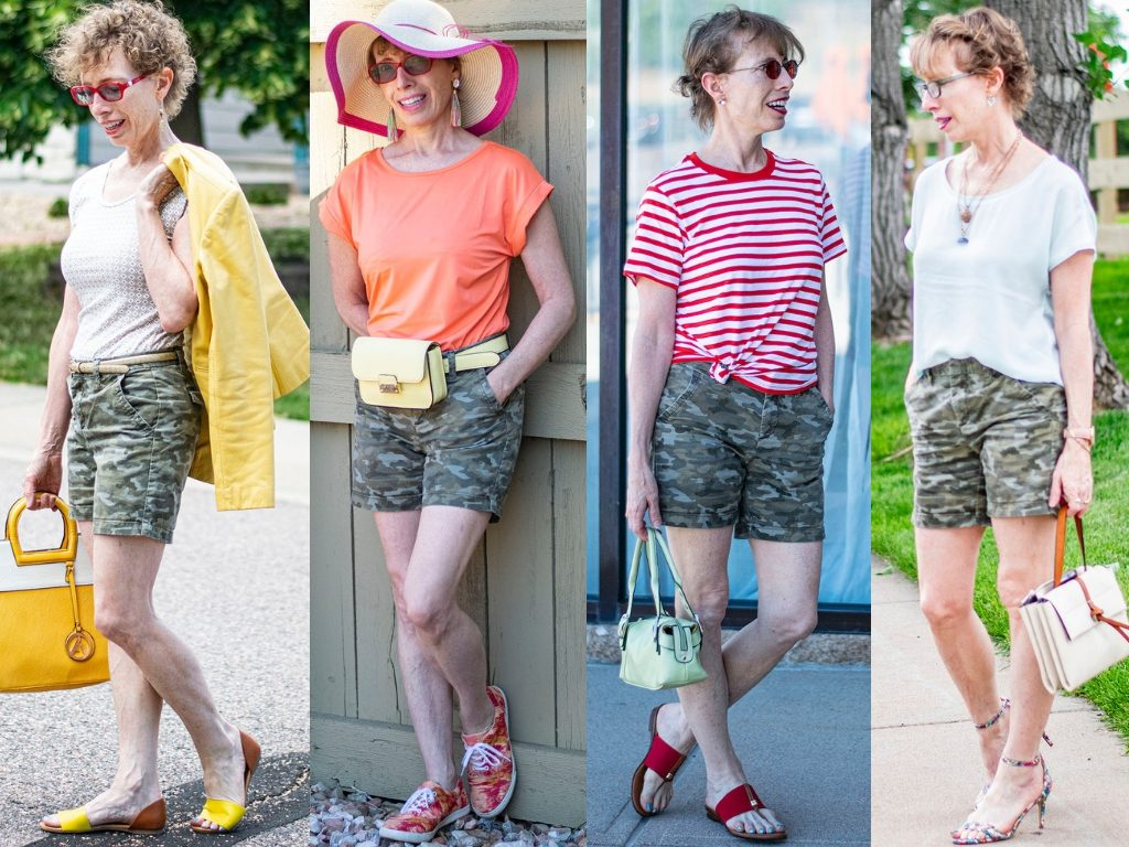 Different options of what to wear with camo shorts