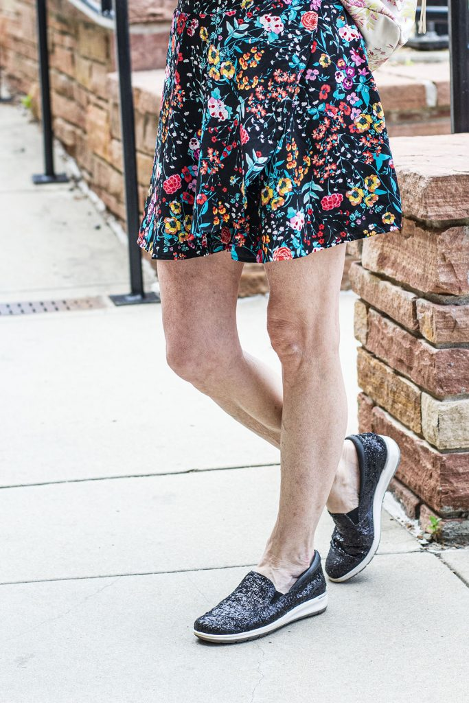 Sparkle sneakers with a floral style romper
