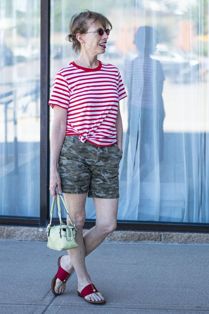 Print mixing with camo shorts