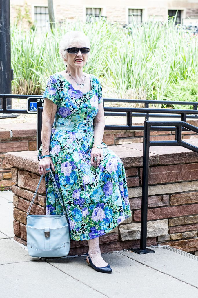 Older woman and summer floral dress outfit