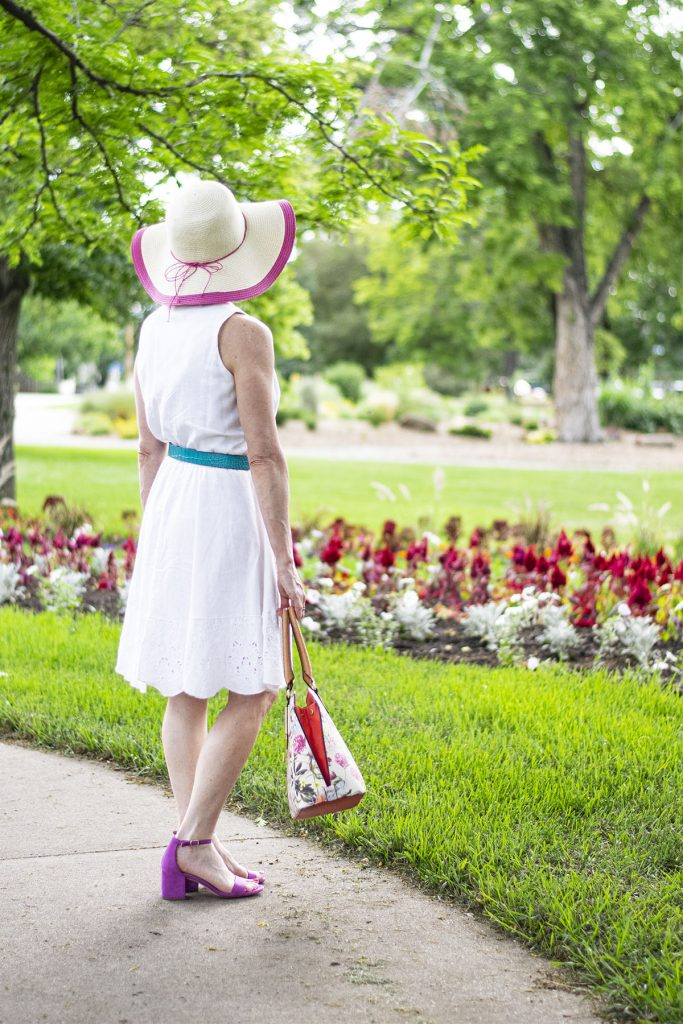 The little white dress with pops of color