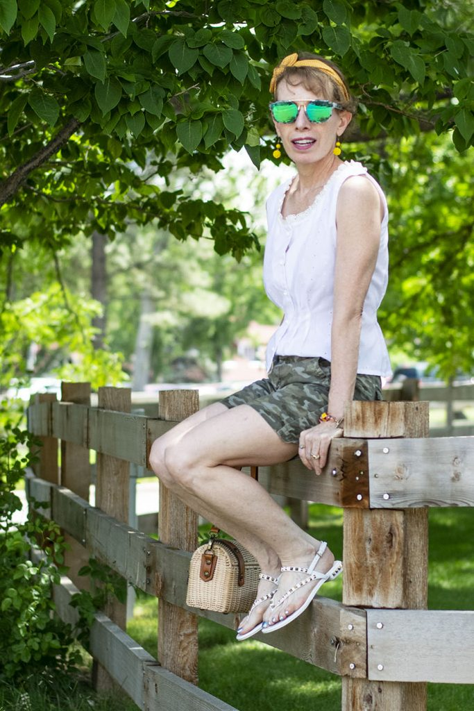What to wear with camo shorts on older women