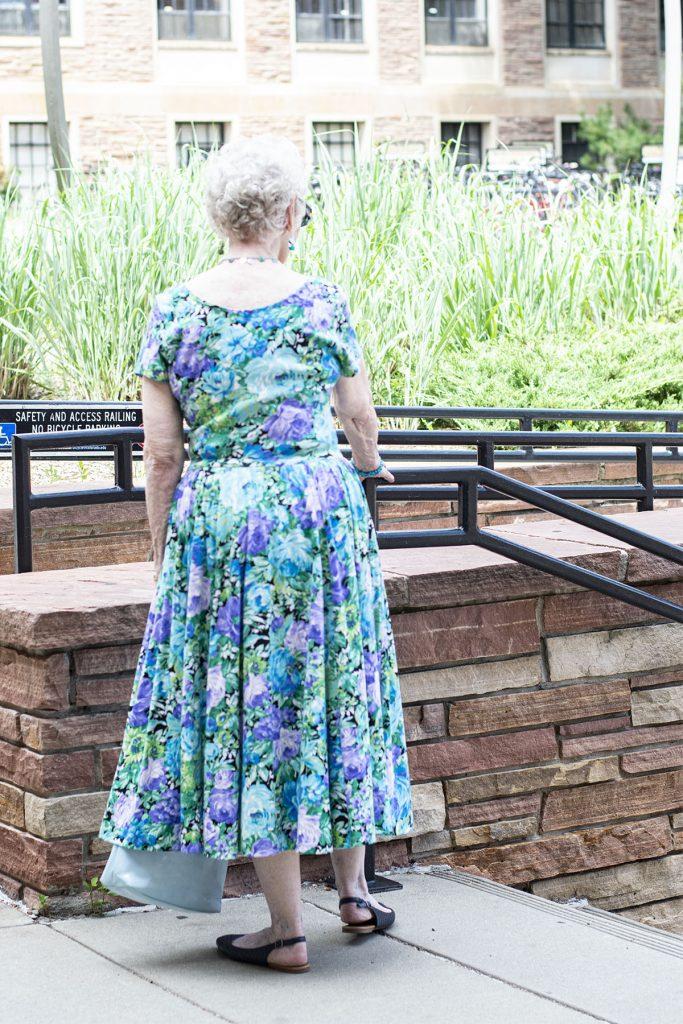 Summer floral dress outfit for older women