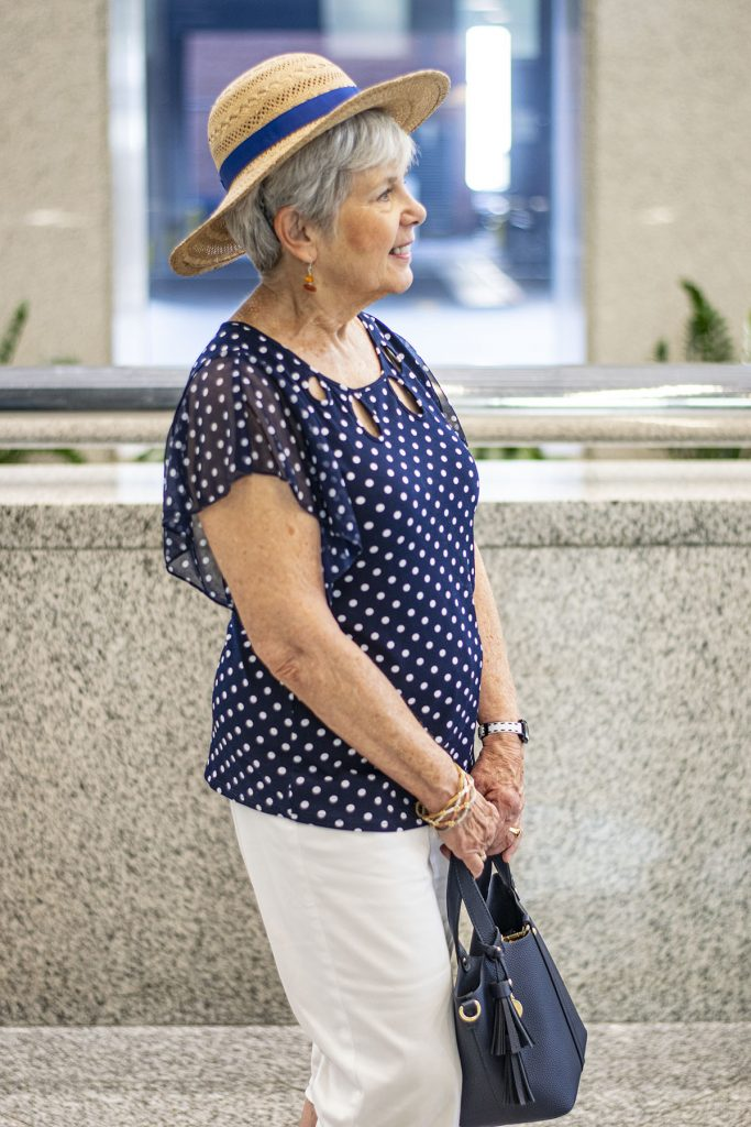 Older woman with the polka dot fashion trend