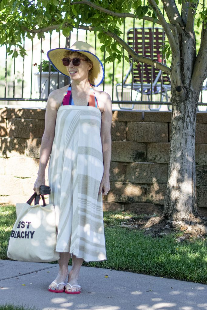 Swim suit coverup as a long skirt outfit ideas