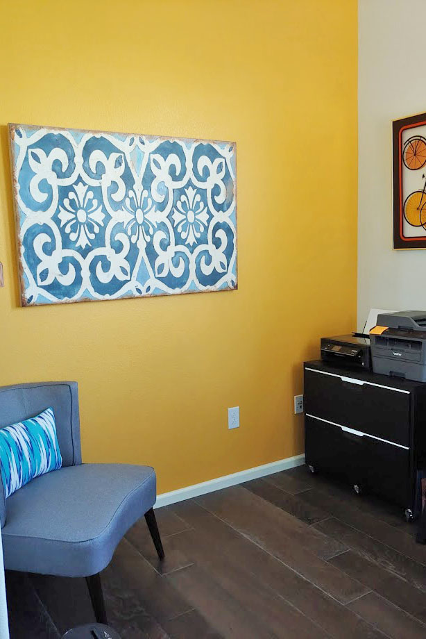 Creating a home office space with an accent wall