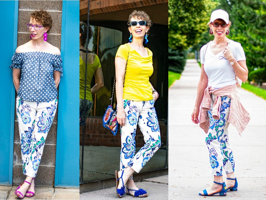 Options of what to wear with printed pants