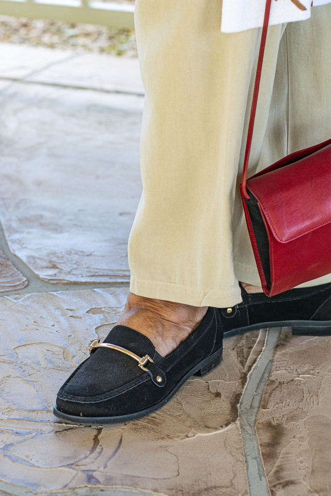 Gold accents with how to style loafers