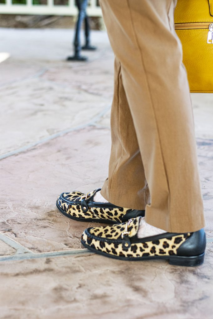 Fall outfit colors with leopard loafers