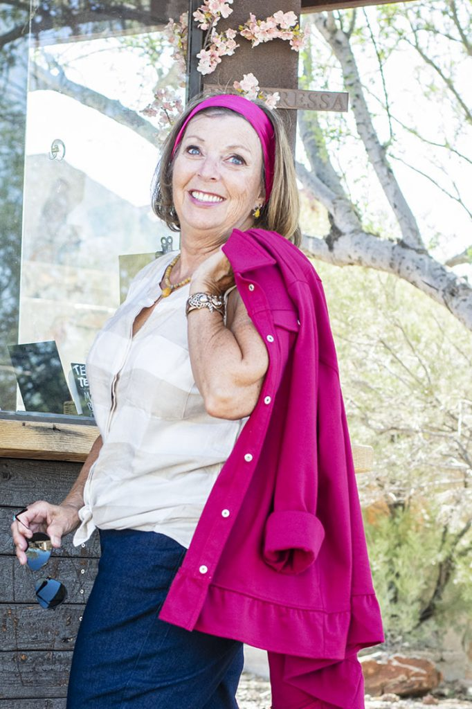 Woman over 60 in easy fall outfits