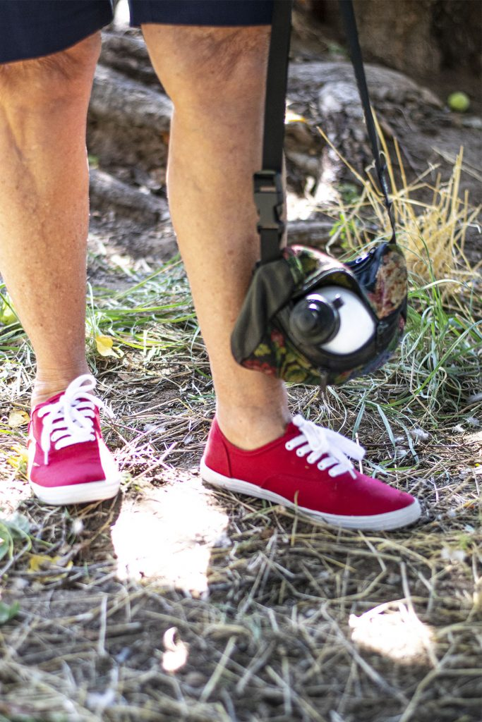 Red sneakers and a water bottle