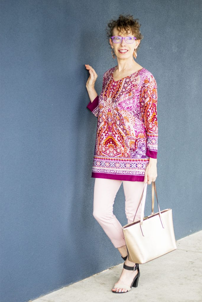 Pink pants too tight so wear a tunic