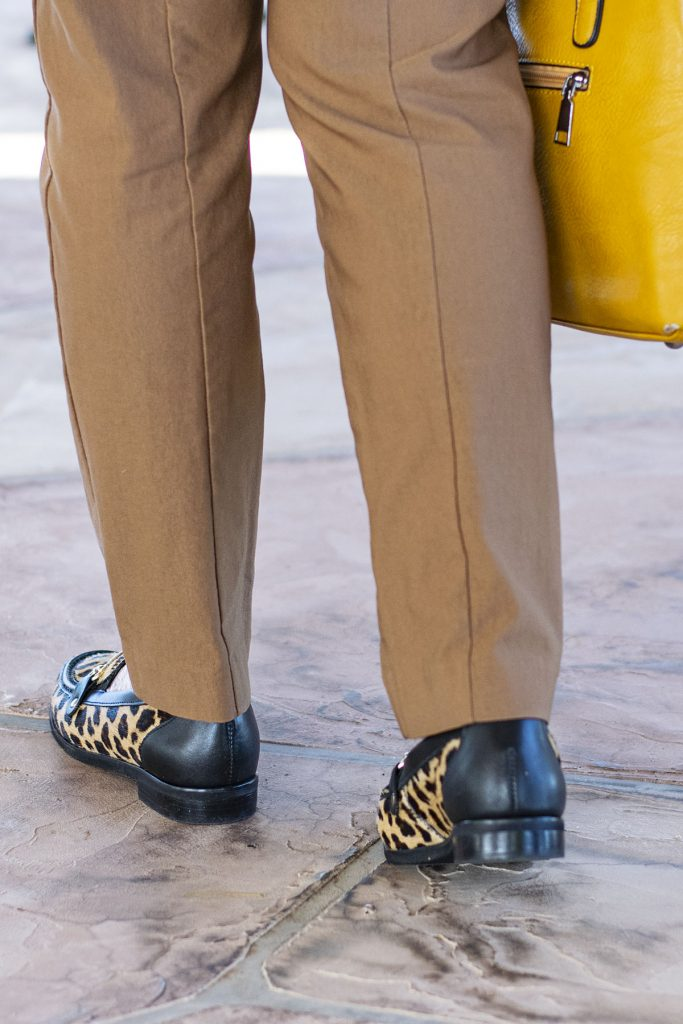 Leopard loafers as fall outfit colors