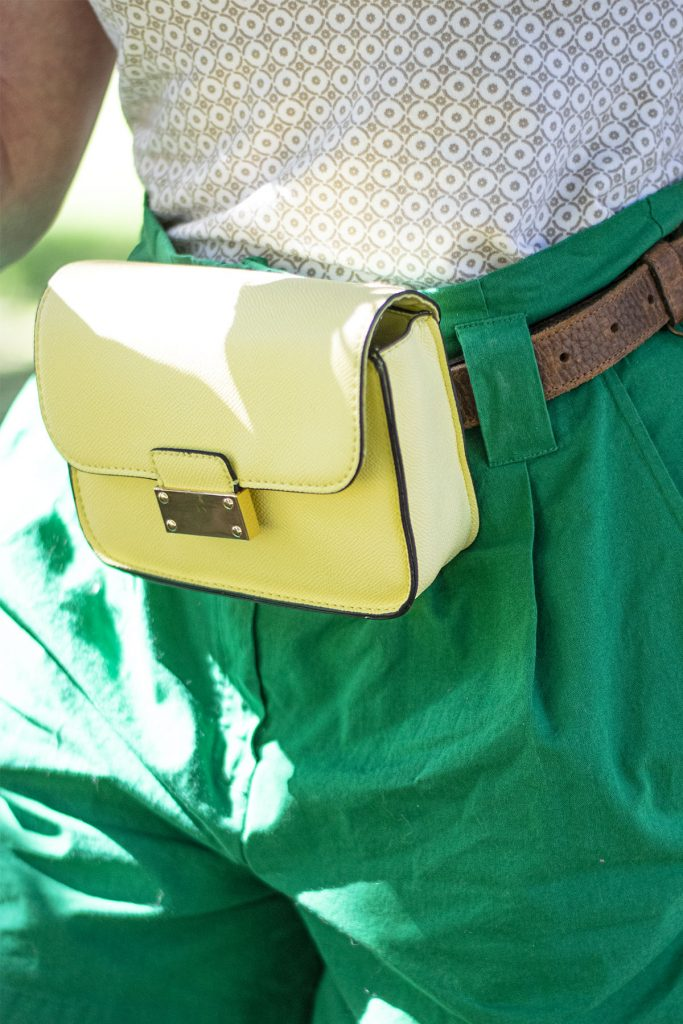 Cute apple picking outfit includes a belt bag