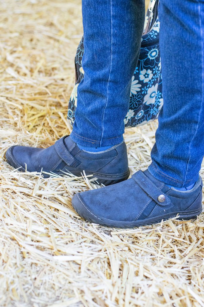 Navy ankle boots for older women