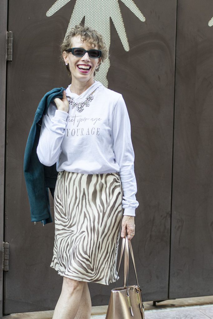 Animal print skirt and a graphic tee