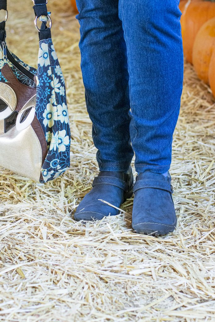 Keeping the same color with ankle boots for older women