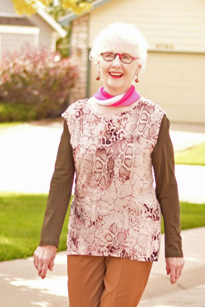 Woman over 80 styling how to wear pink in October