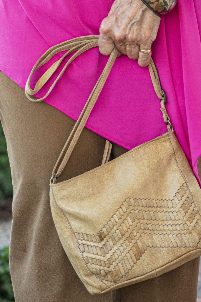 Tan purse as a neutral