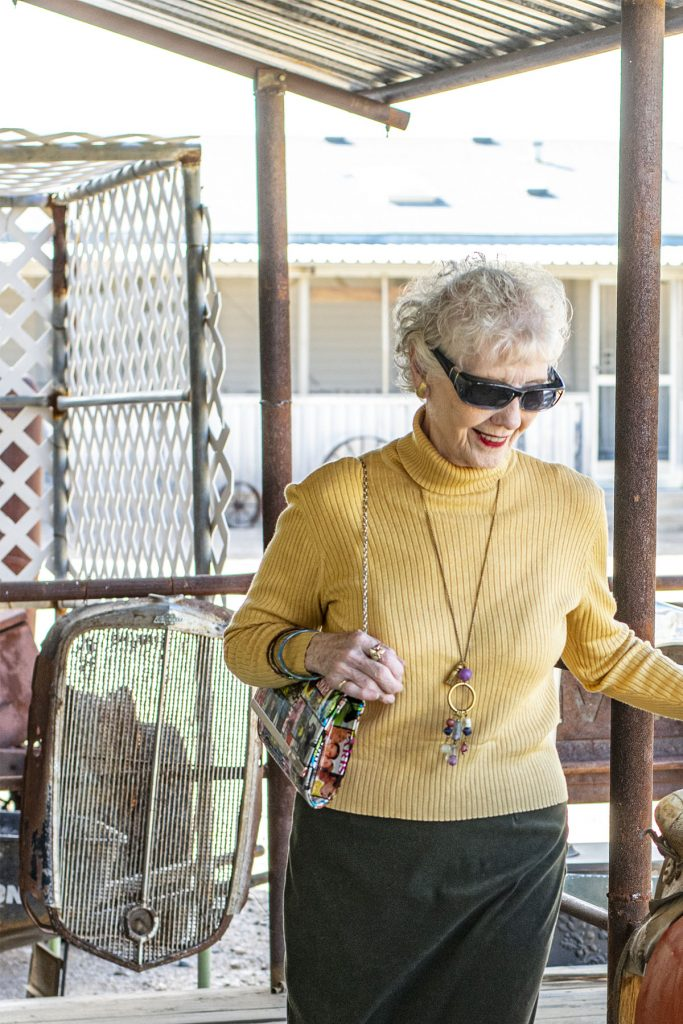 Woman over 80 having fun with style