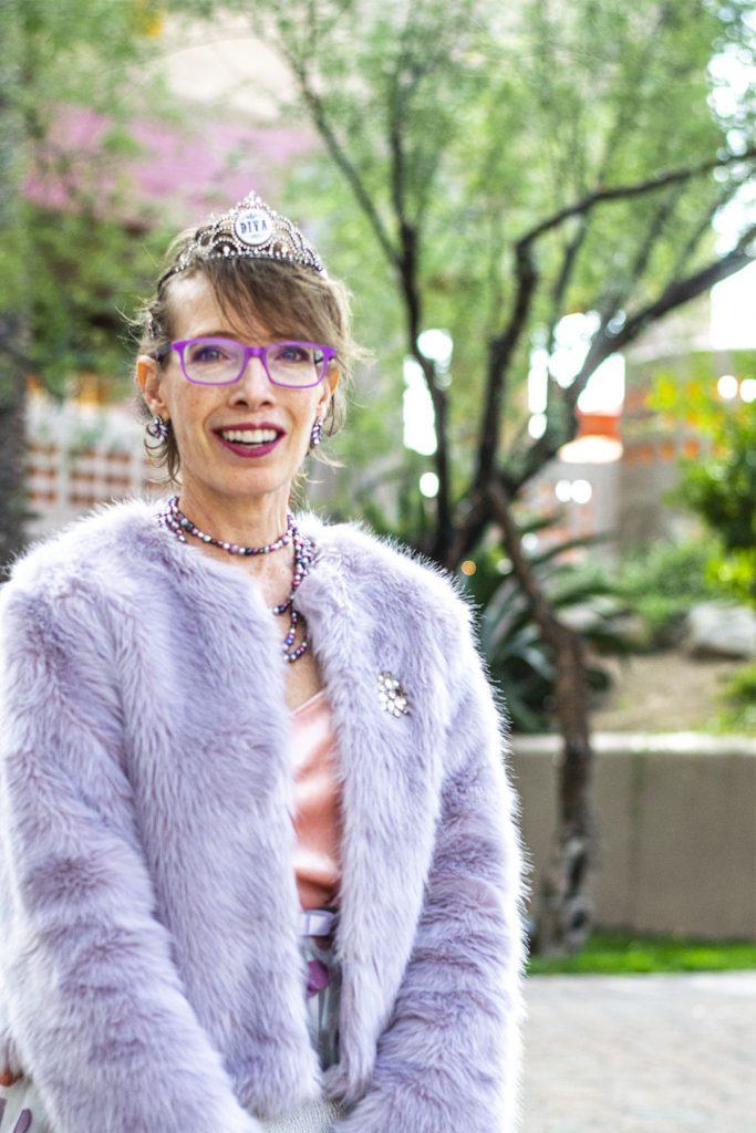 Lilac faux fur jacket for older women