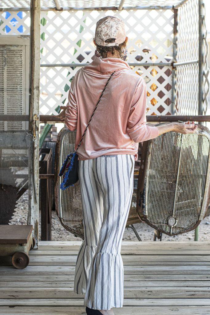 Striped ruffle pants
