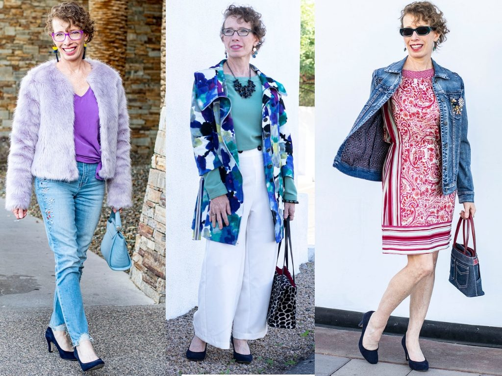 Different outfits for what to wear with navy blue heels
