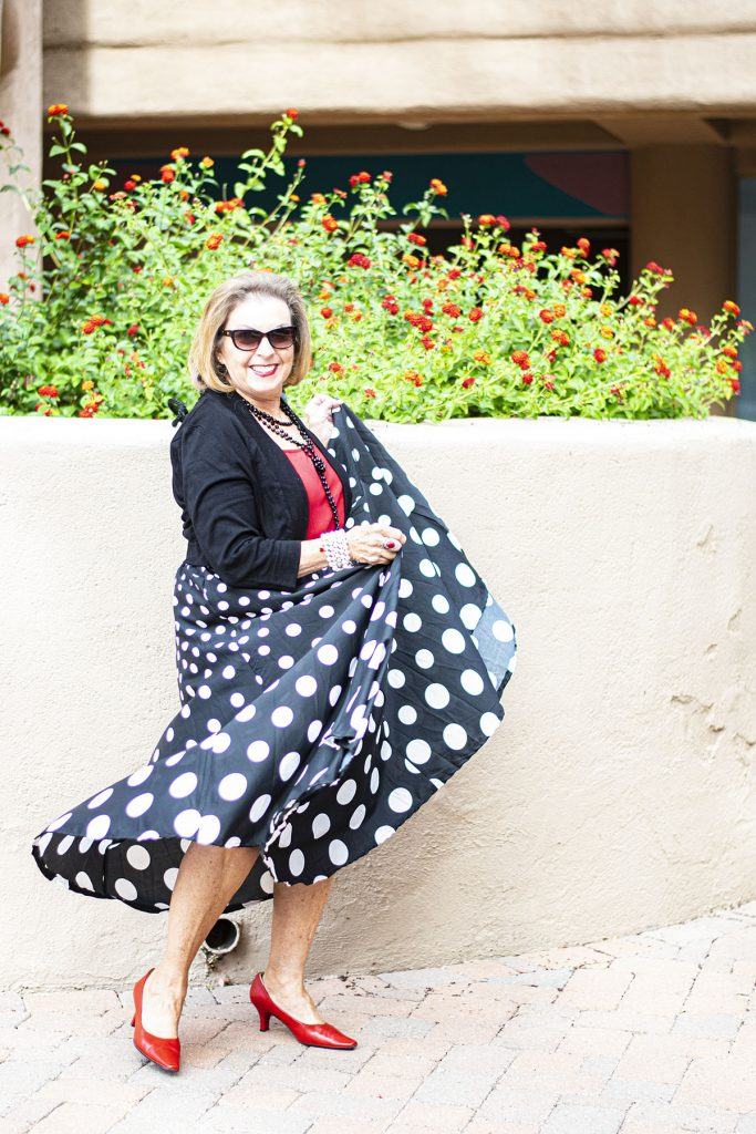 Pretty in polka dots as birthday party outfits for ladies