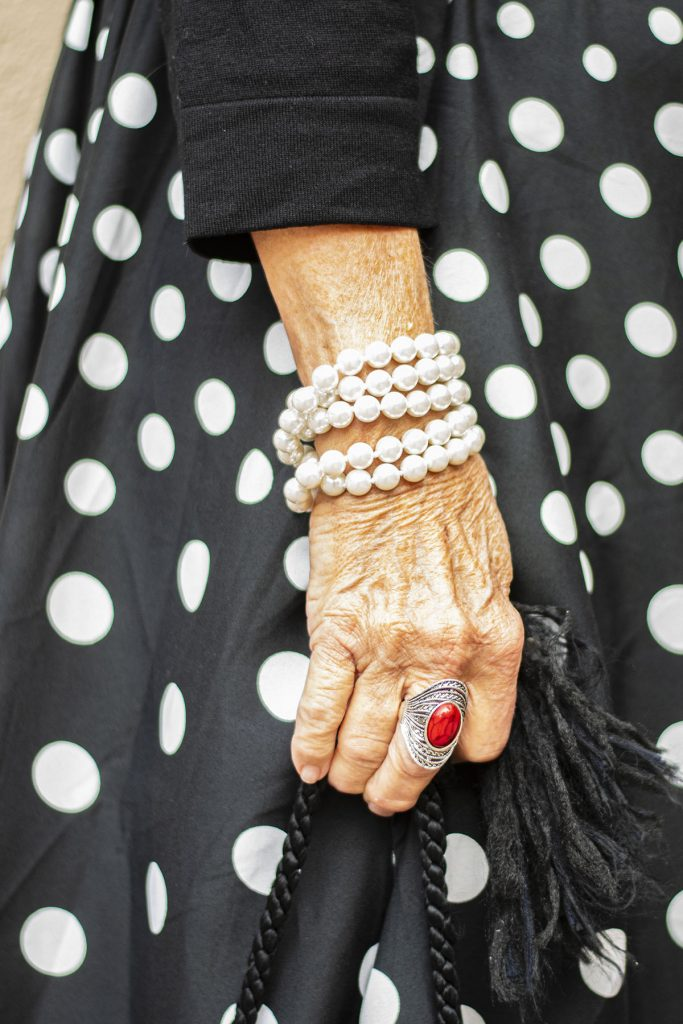 Red ring and pearl bracelet