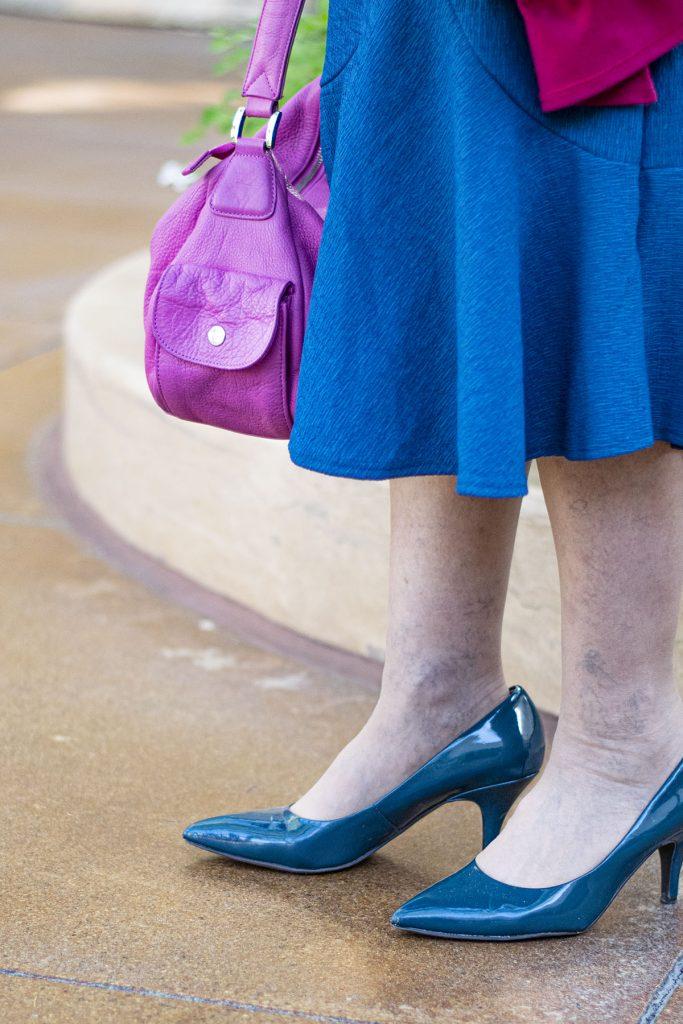 Teal heels for older women