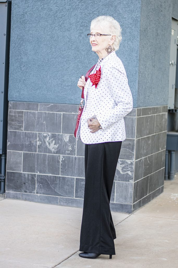 Woman over 80 and how to wear wide leg trousers in winter