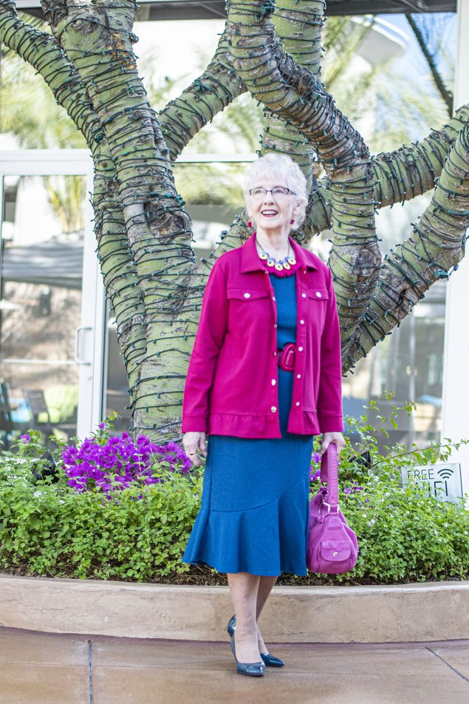 How to accessorize a blue dress for older women