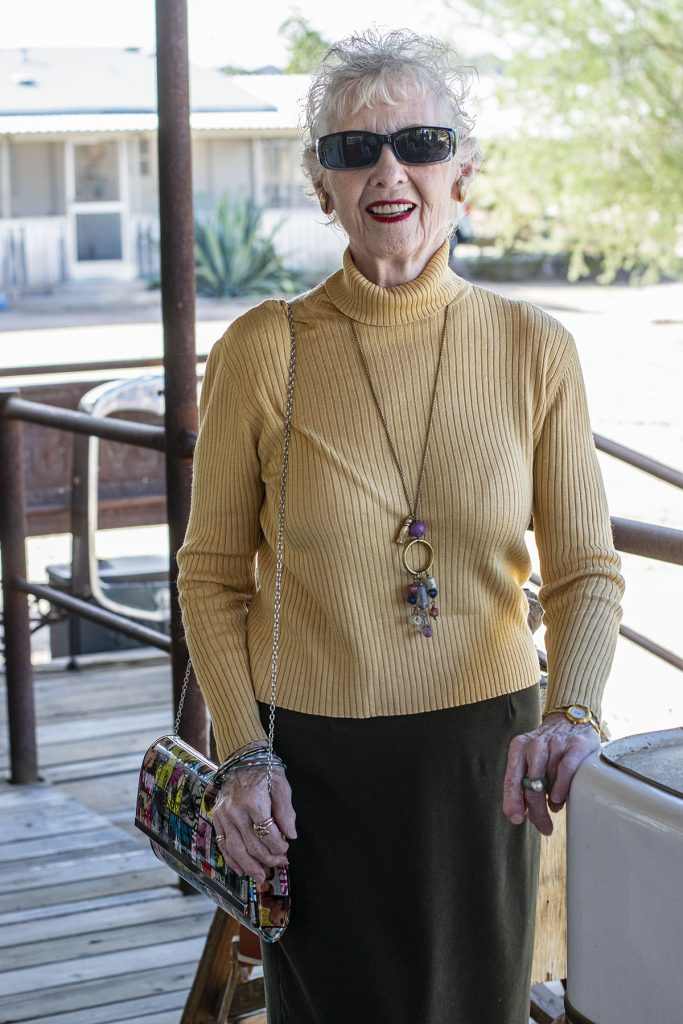 Silk turtleneck on woman over 80